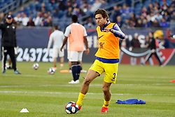May 15, 2019 - Foxborough, MA, U.S. - FOXBOROUGH, MA - MAY 15: Chelsea FC defender Marcos Alonso (3) warms up before the Final Whistle on Hate match between the New England Revolution and Chelsea Football Club on May 15, 2019, at Gillette Stadium in Foxborough, Massachusetts. (Photo by Fred Kfoury III/Icon Sportswire) (Credit Image: © Fred Kfoury Iii/Icon SMI via ZUMA Press)