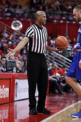 20 January 2017:  NCAA basketball referee Bert Smith during an NCAA Missouri Valley Conference mens basketball game Where the Purple Aces of Evansville lost to the Illinois State Redbirds 75-73 in Redbird Arena, Normal IL