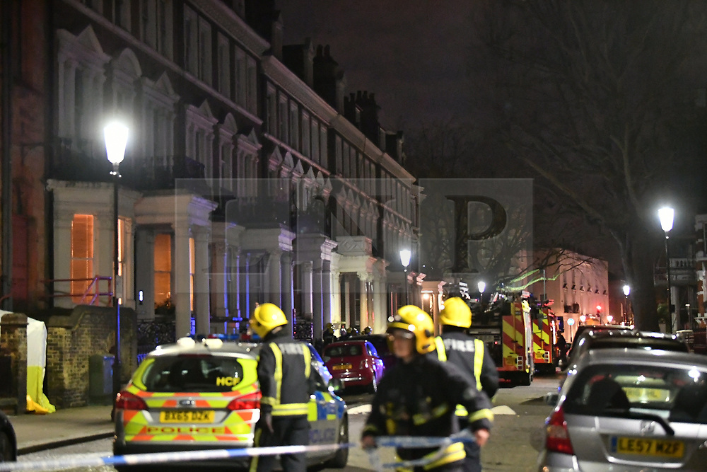 © Licensed to London News Pictures. 07/02/2018. London, UK. The scene of a large fire in Holland Park, West London in which one person has dies. Over 80 firefighters are battling the huge flat blaze on 'Millionaire's Row' in one of the wealthiest parts of the capitalPhoto credit: Ben Cawthra/LNP