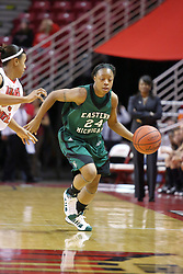 06 December 2008: Tavelyn James brings the ball up the court during a game between the Eastern Michigan Eagles and the Illinois State Redbirds on Doug Collins Court inside Redbird Arena on the campus of Illinois State University, Normal Il.