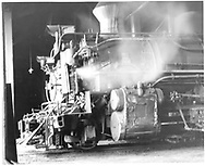 A fireman's-side smokebox view of D&RGW #478 and #486 in Durango roundhouse.<br /> D&RGW  Durango, CO  Taken by Springer, Fred M. - 5/29/1961