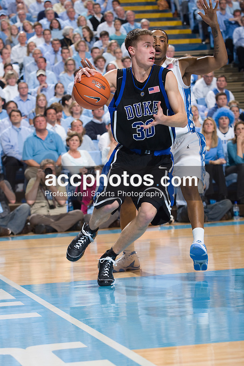 06 February 2008: Duke Blue Devils guard Jon Scheyer (3) during a 89-78 win over the North Carolina Tar Heels at the Dean Smith Center in Chapel Hill, NC.