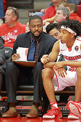 05 November 2016:  Madison Williams(25) and Darshawn McClellan during an NCAA  mens basketball game where the Quincy Hawks lost to the Illinois State Redbirds in an exhibition game at Redbird Arena, Normal IL