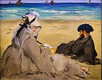 France, Paris (75), zone classée Patrimoine Mondial de l'UNESCO, Musée d'Orsay, Sur la Plage, Edouard Manet // France, Paris, Orsay museum, On the beach, Edouard Manet