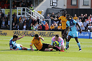 Padraig Amond of Newport county (c) is denied a goal by a save by Wycombe goalkeeper Scott Brown . EFL Skybet football league two match, Newport county v Wycombe Wanderers at Rodney Parade in Newport, South Wales on Saturday 9th September 2017.<br /> pic by Andrew Orchard, Andrew Orchard sports photography.