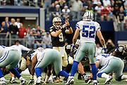 New Orleans Saints quarterback Drew Brees (9) calls a timeout against the Dallas Cowboys at Cowboys Stadium in Arlington, Texas, on December 23, 2012.  (Stan Olszewski/The Dallas Morning News)