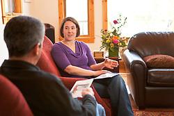 Megan Waterman of Northern Garments in a buisness meeting