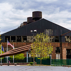 Coatesville, PA / USA - May 3, 2020: A building from the former Lukens Steel Company, now ArcelorMittal, which was the oldest US steel mill.