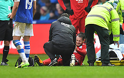 Birmingham City's Jonathan Grounds lays in agony before being stretchered off