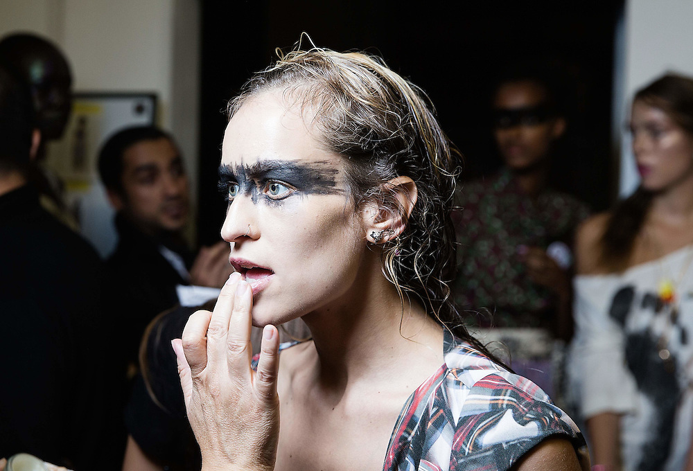 Alice Dellal backstage at the Vivienne Westwood Red Label show during London Fashion Week SS16 at Ambika P3 on September 20, 2015 in London, England.<br /> <br /> Photos Ki Price