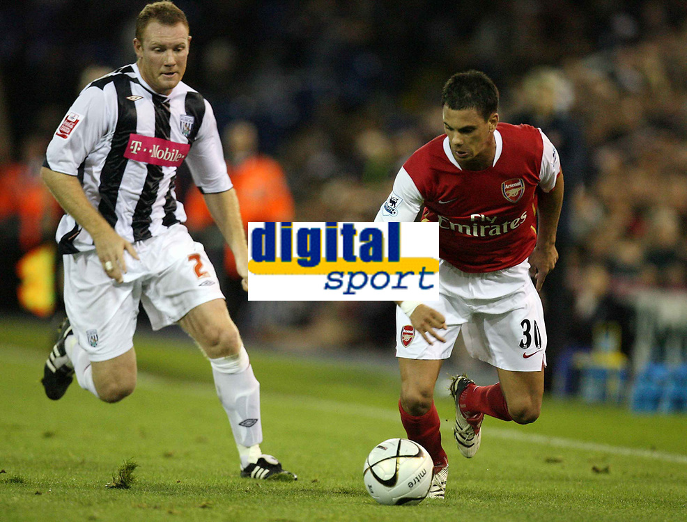 Photo: Rich Eaton.<br /> <br /> West Bromwich Albion v Arsenal. Carling Cup. 24/10/2006. Jeremie Aliadiere right of Arsenal attacks down the wing persued by Steve Watson