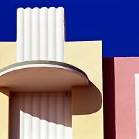 Architectural detail of art deco era building in Miami Beach, Florida.