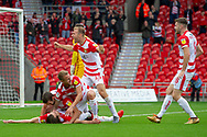 Goal Doncaster rovers celebrate as they lead by 2 goals 2-0 during the EFL Sky Bet League 1 match between Doncaster Rovers and Bradford City at the Keepmoat Stadium, Doncaster, England on 22 September 2018.