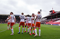 Blackpool's Harry Pritchard celebrates scoring his side's first goal with teammates<br /> <br /> Photographer Alex Dodd/CameraSport<br /> <br /> The EFL Sky Bet League One - Barnsley v Blackpool - Saturday 27th April 2019 - Oakwell - Barnsley<br /> <br /> World Copyright © 2019 CameraSport. All rights reserved. 43 Linden Ave. Countesthorpe. Leicester. England. LE8 5PG - Tel: +44 (0) 116 277 4147 - admin@camerasport.com - www.camerasport.com