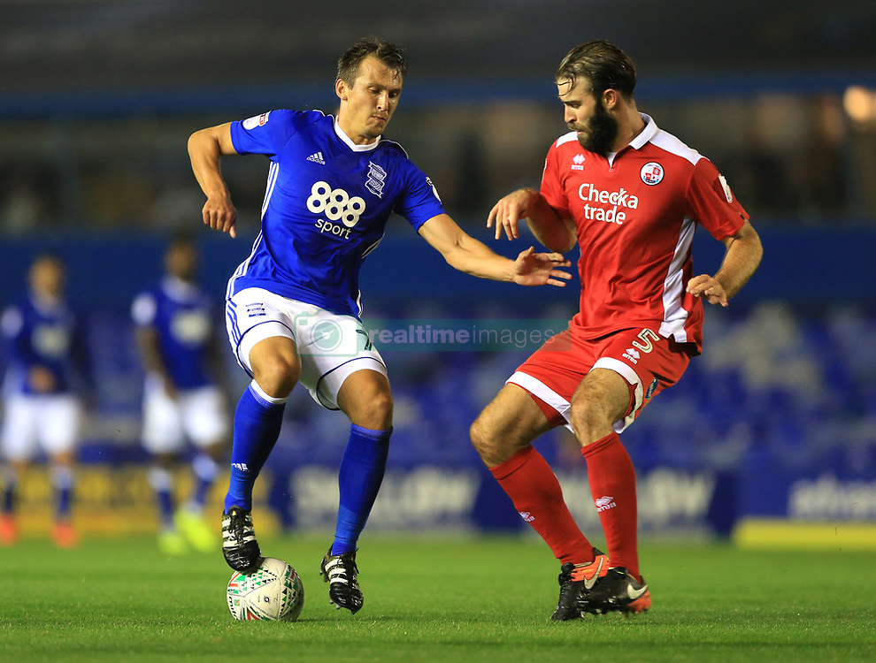 Birmingham City's Robert Tesche (left) and Crawley Town's Joe McNerney battle for the ball