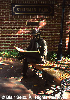 News reader, sculpture, Steinman Park, Lancaster, PA