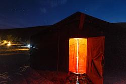 Berber tent at night, Erg Chebbi, Saharan Desert, Morocco