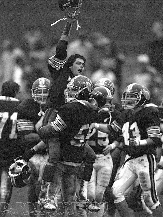 Unidentified Jefferson players exult after sealing their victory over Lenape Valley in a high school football game, Saturday, Nov. 8, 1986, in Jefferson, N.J. (D. Ross Cameron/North Jersey Advance)