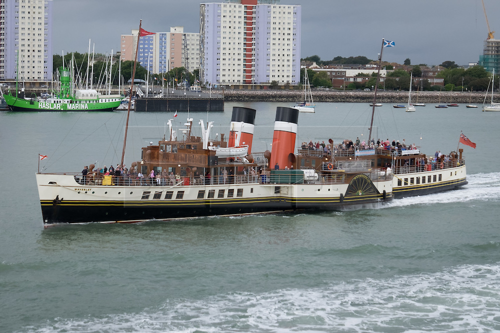 © Licensed to London News Pictures. 22/09/2016. Portsmouth, UK.  The world's last sea-going paddle steamer, Waverley, departs Portsmouth Harbour on her final day trip of the South Coast for 2016. This year marks 70 years since the Waverley's launch on 2nd October 1946. The paddle steamer is on a day excursion and will be sailing from Portsmouth to Lulworth Cove in Dorset via Yarmouth, Bournemouth and Swanage. She will then be sailing on excursions around the Thames estuary until 9th October 2016. Photo credit: Rob Arnold/LNP