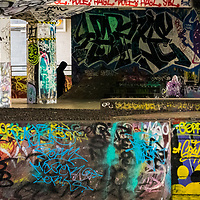 graffiti on the Southbank London skateboard area, phil doncaster photography, skateboard graffiti, abstract Southbank art,