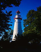 Historic Marblehead Lighthouse dating from 1822 along the shore of Lake Erie, Marblehead, Ohio.