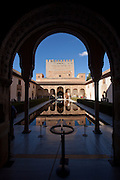 Archway and reflection at the Alhambra in Granada, Spain