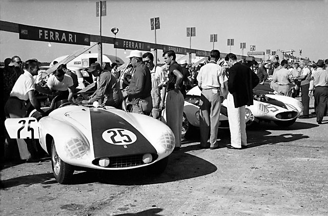 Ferrari at the 1955 Sebring 12-hour race. This is the Hill/Shelby car that would mistakenly be declared the winner in the minutes after the race. Photo by Ozzie Lyons