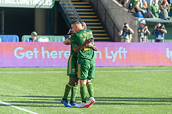 October 21, 2018 - Portland, OR, U.S. - PORTLAND, OR - OCTOBER 21, 2018: Portland Timbers midfielders Diego Chara and David Guzmán celebrate a goal during the Portland Timbers 3-0 victory over Real Salt lake on October 21, 2018, at Providence Park in Portland, Oregon. (Photo by Diego Diaz/Icon Sportswire) (Credit Image: © Diego Diaz/Icon SMI via ZUMA Press)