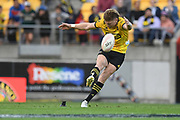 Hurricanes Jordie Barrett attempts a long range penalty in the Super Rugby match, Hurricanes v Crusaders, Sky Stadium, Wellington, Sunday, April 11, 2021. Copyright photo: Kerry Marshall / www.photosport.nz