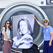 Shonagh Manson is a Assistant Director Culture and Creative Industries celebrates London hosting of UEFA EURO 2020 including both semi finals and the final with thousands of poster laid along Tower Bridge on 13th June 2021, London, UK