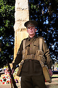 Man dressed as World War 1 Australian soldier at Anzac Day (25th April) ceremony. Guildford, Western Australia