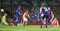 Arsenal's Kieran Gibbs scores a own goal<br /> <br /> Photographer Kieran Galvin/CameraSport<br /> <br /> Football - Barclays Premiership - Arsenal v Manchester United - Saturday 22nd November 2014 - The Emirates Stadium - London<br /> <br /> © CameraSport - 43 Linden Ave. Countesthorpe. Leicester. England. LE8 5PG - Tel: +44 (0) 116 277 4147 - admin@camerasport.com - www.camerasport.com