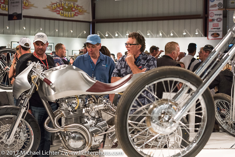Jay Donovan's custom XS-650 in the Old Iron - Young Blood exhibition media and industry reception in the Motorcycles as Art gallery at the Buffalo Chip during the annual Sturgis Black Hills Motorcycle Rally. Sturgis, SD. USA. Sunday August 6, 2017. Photography ©2017 Michael Lichter.