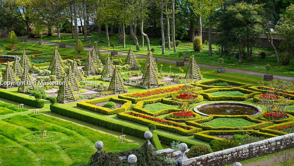 Garden at Dunrobin Castle on the North Coast 500 scenic driving route in northern Scotland, UK