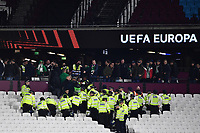 Football - 2021 / 2022 UEFA Europa League - Group H - Round Two - West Ham United vs Rapid Vienna - London Stadium - Thursday 30th September<br /> <br /> Police clear the Rapid Vienna fans after the game.<br /> <br /> COLORSPORT/Ashley Western