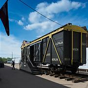 Railroad carriage used to move the jews to Riga concentration camp. Riga ghetto museum, Latvia