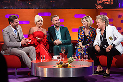 (left to right) Bradley Cooper, Lady Gaga, Ryan Gosling, Jodie Whittaker and Sir Rod Stewart<br /> during the filming of the Graham Norton Show at BBC Studioworks 6 Television Centre, Wood Lane, London, to be aired on BBC One on Friday evening.