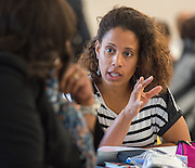 Houston ISD teacher development specialists discuss ways to improve communication during a workshop at Ryan School, December 8, 2014.