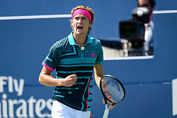 August 10, 2018 - Toronto, ON, U.S. - TORONTO, ON - AUGUST 10: Alexander Zverev (GER) celebrates after winning a point during his Quarter-Finals match of the Rogers Cup tennis tournament on August 10, 2018, at Aviva Centre in Toronto, ON, Canada. (Photo by Julian Avram/Icon Sportswire) (Credit Image: © Julian Avram/Icon SMI via ZUMA Press)