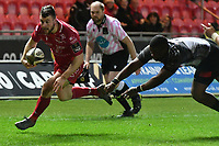 Rugby Ubion_ 2019 / 2020 Guinness Pro14 - Scarlets vs. Southern Kings<br /> <br />  Ryan Conbeer Llanelly Scarlets breaks to score a try  , at Parc y Scarlets, Llanelli. <br /> <br /> COLORSPORT/WINSTON BYNORTH