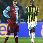 Fenerbahce's Mamadou NIANG (R) and Trabzonspor's Gustavo COLMAN (L) during their Turkish superleague soccer derby match Fenerbahce between Trabzonspor at the Sukru Saracaoglu stadium in Istanbul Turkey on Sunday 30 January 2011. Photo by TURKPIX