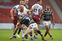 Rugby League - 2020 Coral Challenge Cup - Leeds Rhinos vs Wigan Warrior - TW Stadium, Stadium<br /> <br /> Wigan Warriors's Zak Hardaker is tackled <br /> <br /> COLORSPORT/TERRY DONNELLY