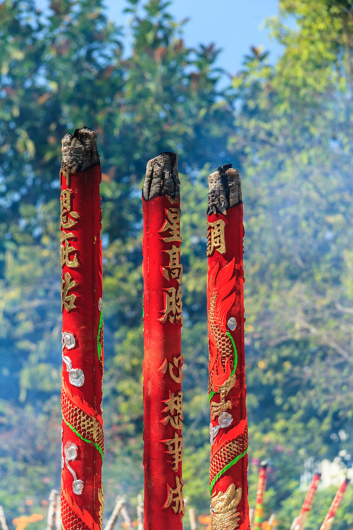 Incense sticks at Po Lin Monastery on Lantau Island, Hong Kong.  The scent of incense reminds Buddhists of the pervading influence of virtue.