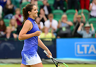 Laura Robson (GBR) celebrates after winning her doubles match with  Jocelyn Rae (GBR) against Su-Wei Hsieh and Magda Linette. The Aegon Open Nottingham 2017, international tennis tournament at the Nottingham tennis centre in Nottingham, Notts , day 2 on Tuesday 13th June 2017.<br /> pic by Bradley Collyer, Andrew Orchard sports photography.