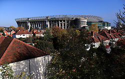General view of the stadium over nearby houses ahead of the Quilter International match at Twickenham Stadium, London
