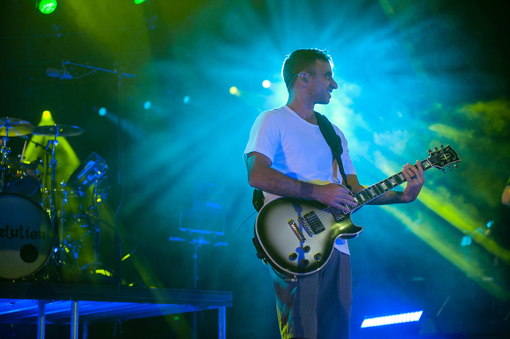 Eric Rachmany of Rebelution performing at Pacific Amphitheatre August 6, 2021.