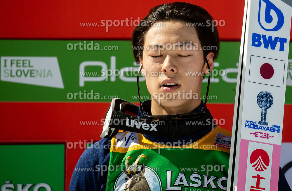 Winner Ryoyu Kobayashi (JPN) listening to the National anthem at trophy ceremony after the Ski Flying Hill Individual Competition at Day 4 of FIS Ski Jumping World Cup Final 2019, on March 24, 2019 in Planica, Slovenia. Photo by Vid Ponikvar / Sportida