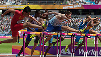 Athletics - 2017 IAAF London World Athletics Championships - Day Three, Morning Session<br /> <br /> 110m Hurdles Men - Heats<br /> <br /> Andrew Pozzi (Great Britain) followed by Wenjun Xie (China) clear the high hurdles at the London Stadium<br /> <br /> COLORSPORT/DANIEL BEARHAM