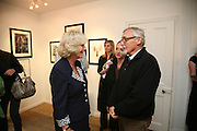 THE DUCHESS OF CORNWALL, VICTORIA AND DENNIS HOPPER,  Norman Parkinson and Philip Treacy, an exhibition of photographs by Norman Parkinson and drawings by celebrated milliner Philip Treacy. ELEVEN Gallery. VICTORIA. LONDON. 3 July 2007.  -DO NOT ARCHIVE-© Copyright Photograph by Dafydd Jones. 248 Clapham Rd. London SW9 0PZ. Tel 0207 820 0771. www.dafjones.com.