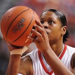 Mar 2, 2009; Piscataway, NJ, USA; Rutgers center Kia Vaughn (15) lines up a free throw during the second half of Rutgers game against nationally rated #1 Connecticut at the Louis Brown Athletic Center.  Connecticut won 69-59 to finish their regular season a perfect 30-0.